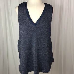 Deletta Blue and Silver Sleeveless Blouse size S